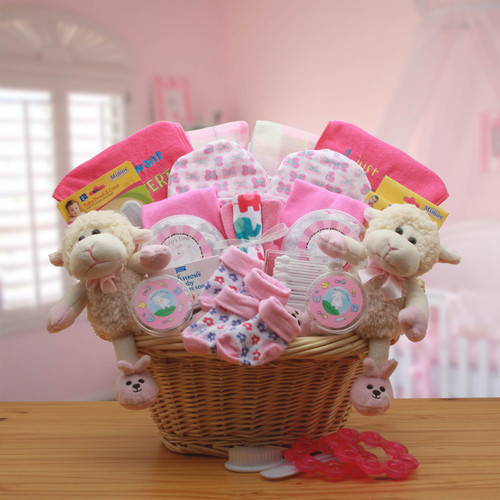 Double Delight Girl Twins New Baby Gift Basket - Pink