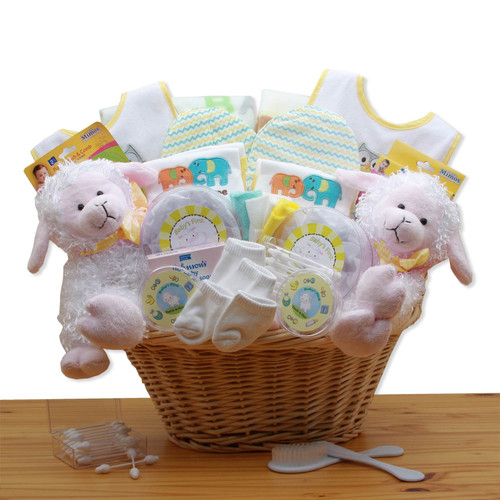 Double Delight Gender Neutral Twins New Baby Gift Basket - Yellow