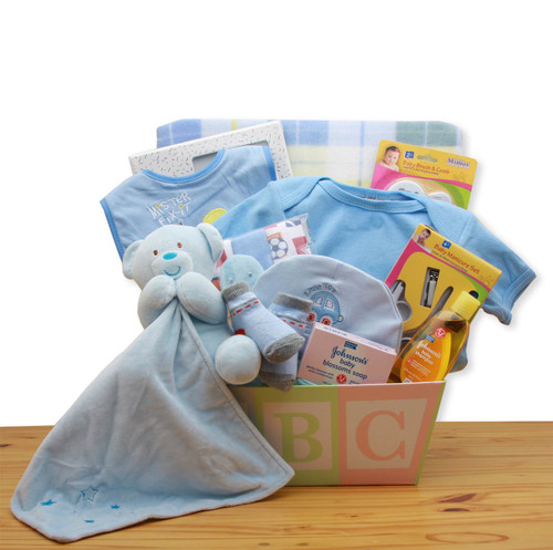 Easy as ABC New Baby Boy Gift Basket - Blue