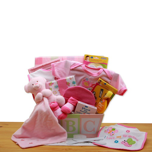 Easy as ABC New Baby Girl Gift Basket - Pink