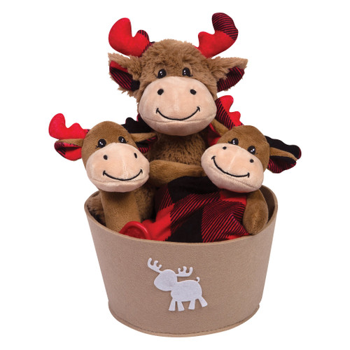 Buffalo Check Moose 4 Piece Plush Gift Set Bucket