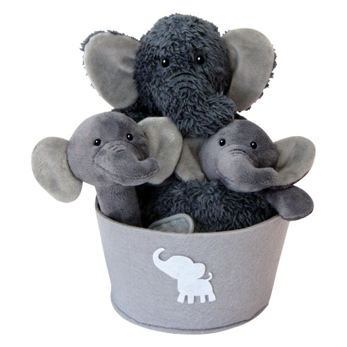 Elephant 4 Piece Plush Gift Set Bucket
