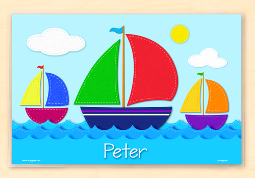 Sailboats Personalized Kids Placemat