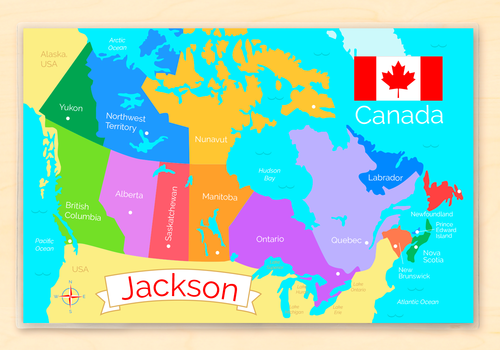 Canada Map Personalized Kids Placemat