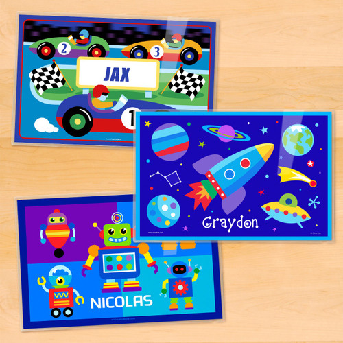 Boys Personalized Kids Placemat Set of 3