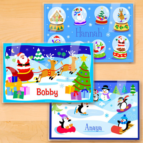 Christmas Personalized Kids Placemat Set of 3