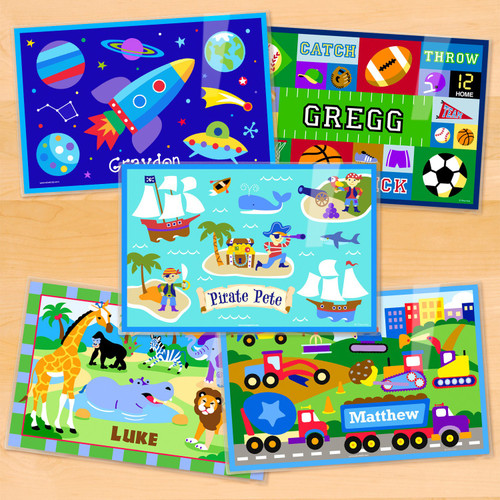 Boys Personalized Kids Placemat Set of 5