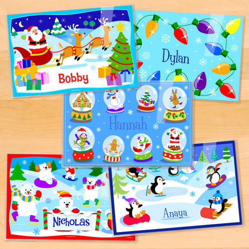 Christmas Personalized Kids Placemat Set of 5
