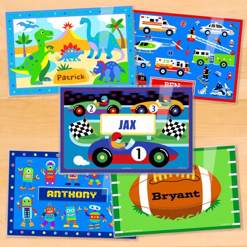 Boys Bold Personalized Kids Placemat Set of 5