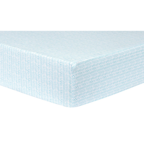 Aqua Herringbone Deluxe Fitted Flannel Crib Sheet