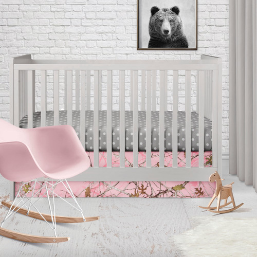 Camo Baby Pink Collection 2 Piece Starter Crib Bedding Set