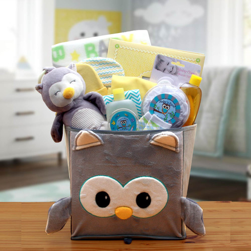 A Little Hoot New Baby Gift Basket - Neutral for Boys or Girls