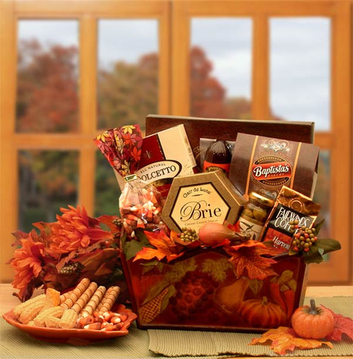 A Gourmet Fall Harvest Autumn Themed Gift Basket