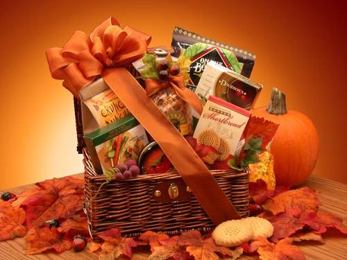 Fall Snack Chest! Autumn Themed Hamper Basket Gift Arrangement