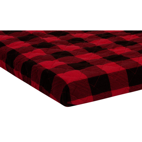 Red and Black Buffalo Check Quilted Jersey Playard Sheet