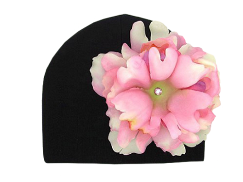 Black Cotton Hat with Pale Pink Large Peony
