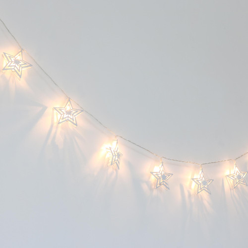 Farmhouse Collection Silver Metal Twinkle Stars LED Lighted Garland