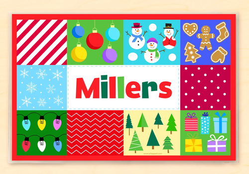 Christmas Patchwork Personalized Kids Holiday Placemat