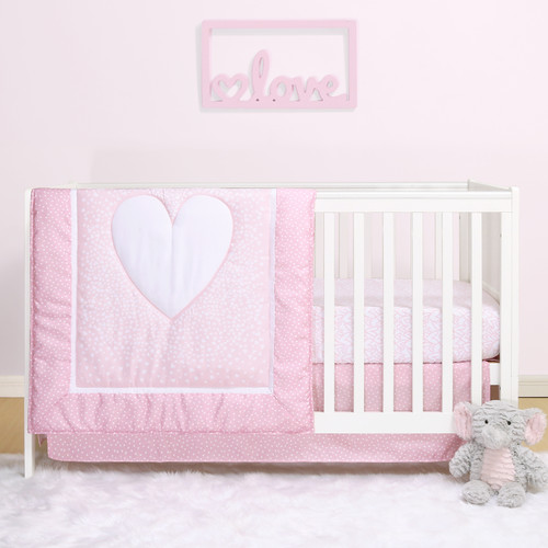 Hearts 3 Piece Bumperless Crib Bedding Set in Pink and White