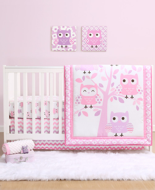 Dancing Owls 3 Piece Bumperless Crib Bedding Set in Pink and Purple