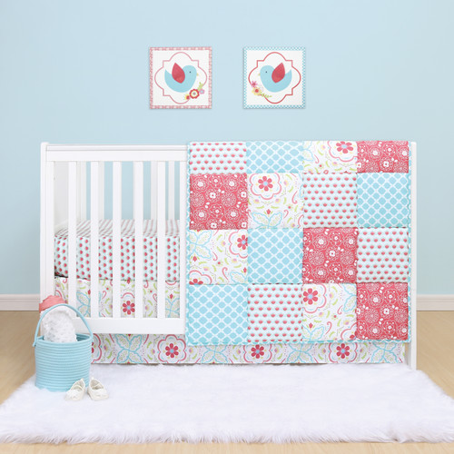 Mila 3 Piece Bumperless Crib Bedding Set in Coral, Aqua and Pink