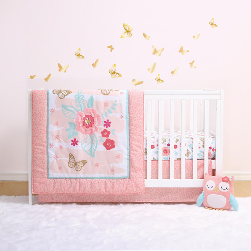 Aflutter 3-Piece Bumperless Crib Bedding Set in Pink and Gold