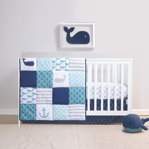Nautical Whales 3 Piece Bumperless Crib Bedding Set in Navy and Aqua