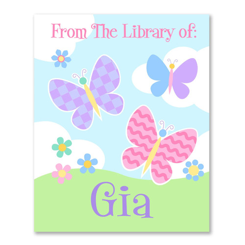 Butterfly Garden Personalized Kid's Bookplates - Set of 12