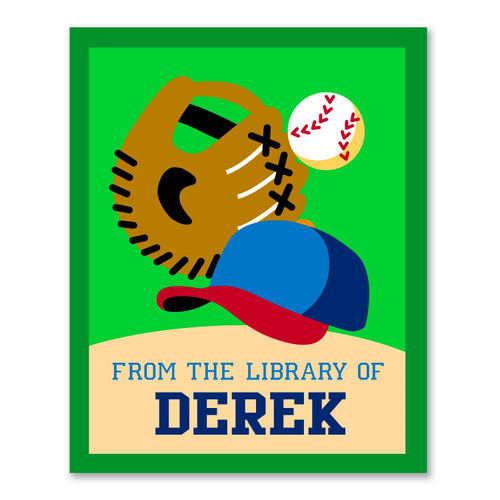 Baseball Personalized Kid's Bookplates - Set of 12