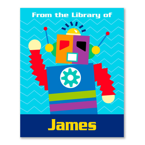 Robots Personalized Kid's Bookplates - Set of 12
