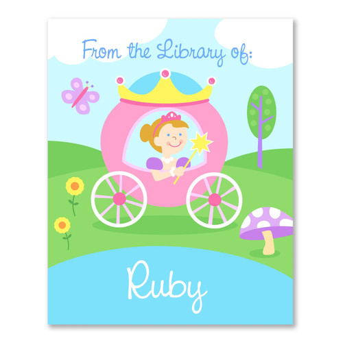 Princess (Light Skin) Personalized Kid's Bookplates - Set of 12