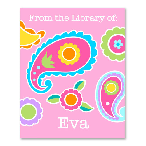 Paisley Personalized Kid's Bookplates - Set of 12