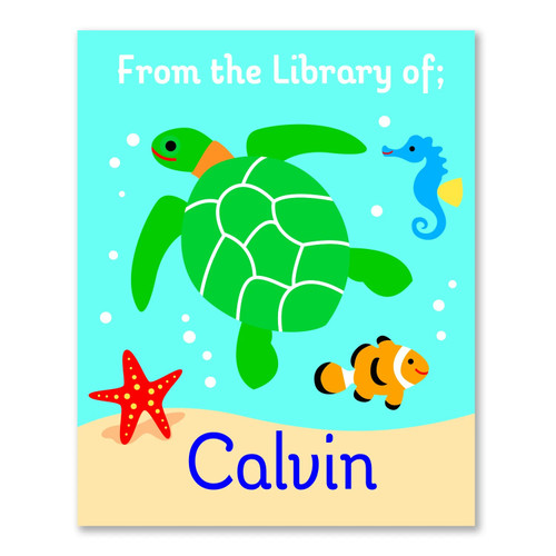 Ocean Personalized Kid's Bookplates - Set of 12