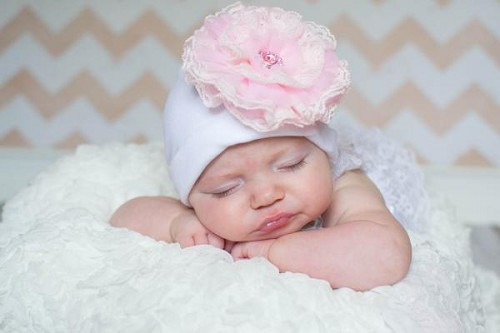 White Cotton Hat with Pale Pink Lace Rose