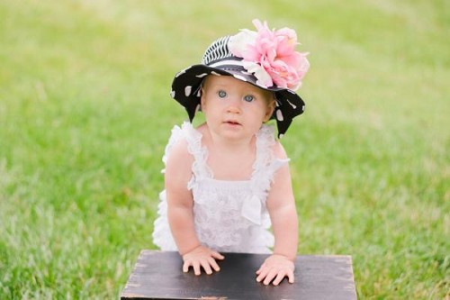 Black White Dot Sun Hat with Candy Pink Large Peony