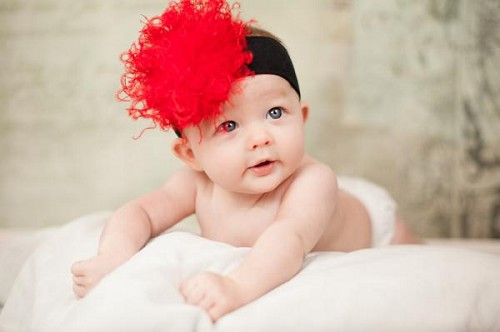 Black Soft Headband with Red Small Curly Marabou