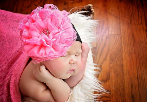 Black Soft Headband with Candy Pink Lace Rose