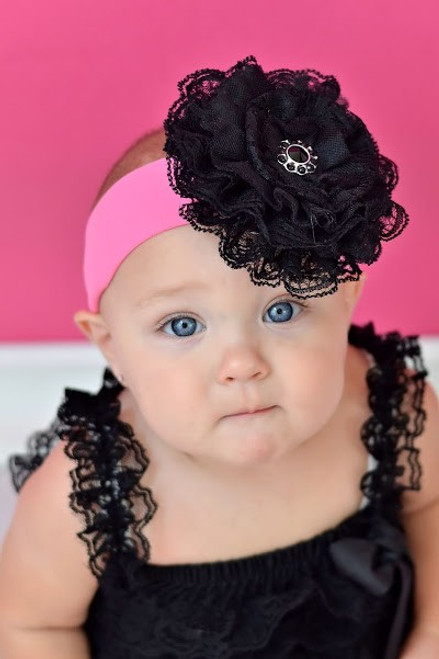 32adde09dfa Candy Pink Soft Headband with Black Lace Rose. Quick view Compare Choose  Options. Jamie Rae Hats