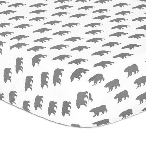 Bear Fitted Cotton Sateen Crib Sheet in Grey and White