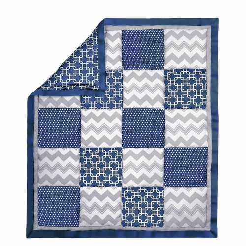 Geo Patchwork Cotton Quilt in Navy and Grey