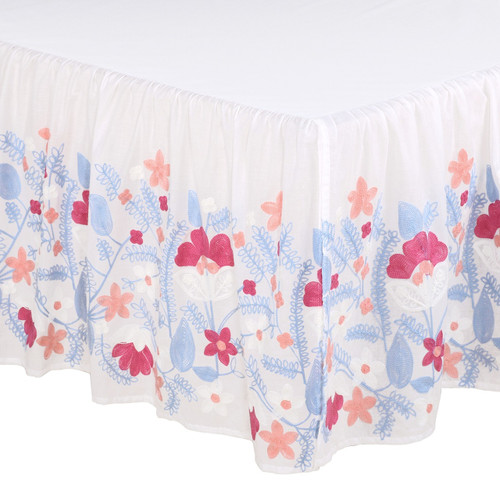Camilla Collection Floral Embroidered Crib Dust Ruffle