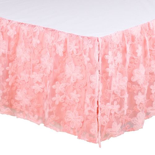Audrey Collection Floral Embroidered Overlay Crib Dust Ruffle In Coral