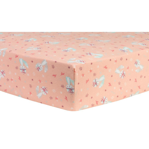 Fox and Flowers Deluxe Fitted Flannel Crib Sheet