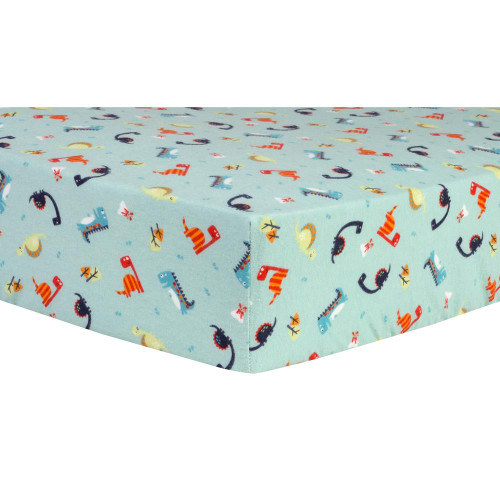 Dinosaurs Deluxe Fitted Flannel Crib Sheet