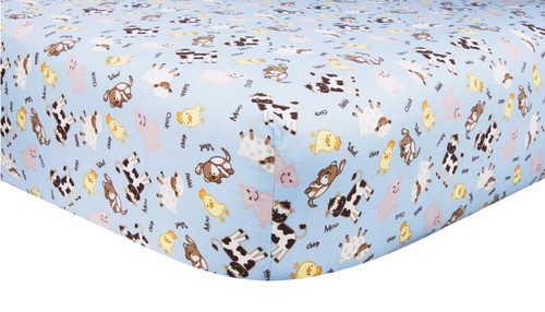 Trend Lab Baby Barnyard Fitted Cotton Crib Sheet