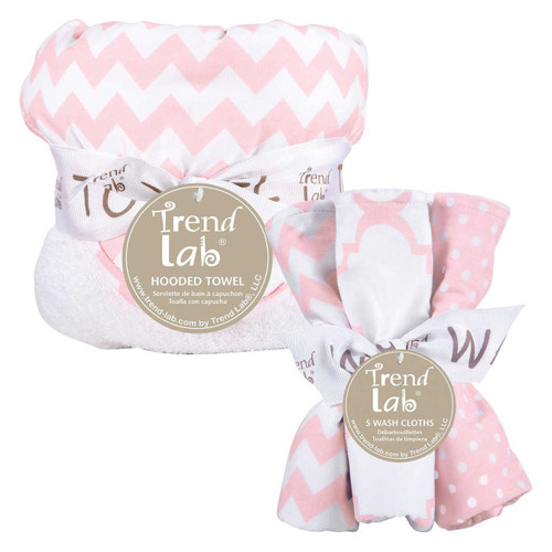 Trend Lab Pink Sky Chevron Hooded Towel and 5 Pack Wash Cloth Set