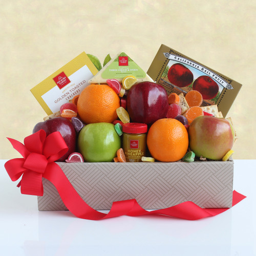 California Fruit and Cheese Gift Box Arrangement