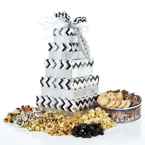 Dazzling Delights Savory and Sweet Gift Tower for Any Occasion