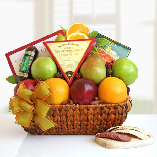 Fruit Abounds! Gourmet Nuts, Cheese and Fresh Fruit Gift Basket