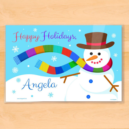 Windy Snowman Personalized Kids Holiday Placemat